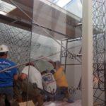 Installation of glass fabricated by Foxfire Glass, Detroit, MI