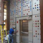 Installation of glass fabricated by Franz Mayer of Munich