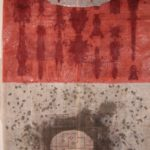 Veil 5, 45 in. x 41 in. Newspaper, pearls, ink,  gouache, cloth