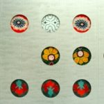 Detail of 250 textile images painted on glass by Franz Mayer of Munich