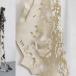 """""""Stilt"""" 2015, 9'H x 6'W x 3'D, felt, wood, paperpulp"""
