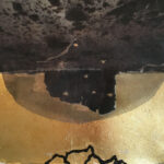"Untitled 47, 2019, 10"" x 10"", silk organza overlay on imitation gold leaf, ink, collage"