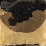 collage on metal leaf, silk organza overlay
