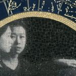 Detail of 8'diameter, Chinese theory of hun tien, mosaic and sandcast glass, 48th St. spine