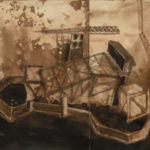 "Oil Rig, 2007, 18"" x 11.5"", ink  and pencil on paper"