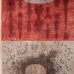 Veil 5, 45 in. x 41 in. Newspaper, pearls, ink,  gouache, cloth