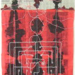 45 in. x 41 in. Newspaper, pearls, ink,  gouache, cloth