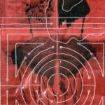 detail, 45 in. x 41 in. Newspaper, pearls, ink,  gouache, cloth