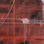 detail, Veil 2, 45 in. x 41 in. Newspaper, pearls, ink,  gouache, cloth