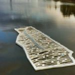 Roger Williams map floating in the Providence River