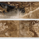 """Untitled 1 and 2, both drawings 60"""" x 22"""", walnut and sumi ink on paper, 2015"""