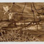 "Satellite, 60"" x 22"", walnut ink on paper, 2015"