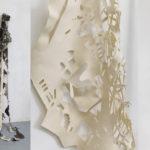 """""""Stilt"""" 2014, felt, wood, paper, 8'H x 5'W x 2'D"""