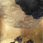 "Untitled 31, 2019, 10"" x 10"", collage, silk organza overlay on imitation gold leaf, ink"