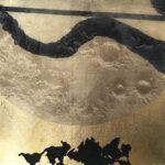 "Untitled 32, 2019, 10"" x 10""  collage, silk organza overlay on imitation gold leaf"