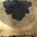 "Untitled 33, 2019, 10"" x 10"",collage, silk organza overlay on imitation gold leaf, ink"