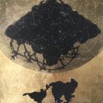 "Untitled 35, 2020, 10"" x 10"",collage, silk organza overlay on imitation gold leaf"