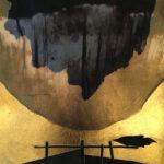 "Untitled 45, 2020, 10"" x 10"", collage, silk organza overlay, imitation gold leaf, ink"